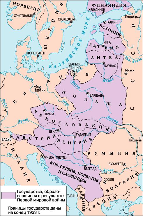 Государства, образовавшиеся в результате Первой мировой войны