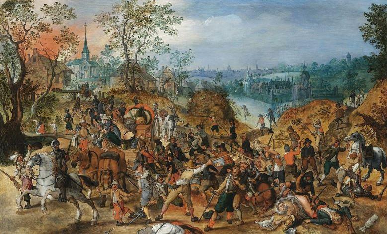Картина из мастерской Себастьяна Вранкса «Сцена периода Тридцатилетней войны около небольшого городка»