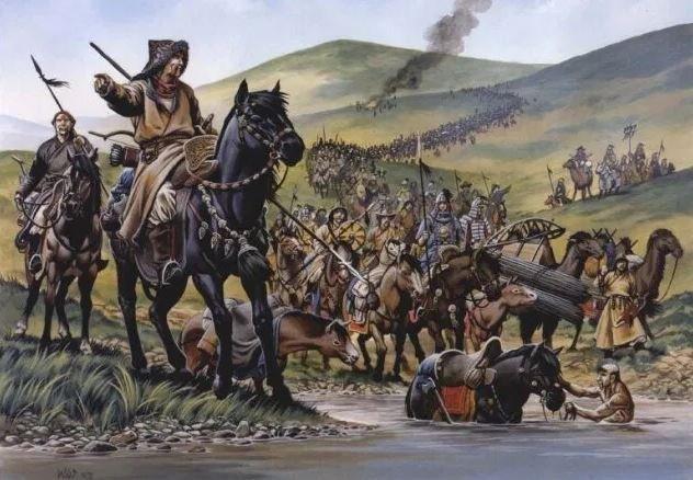 Монголы переходят горы