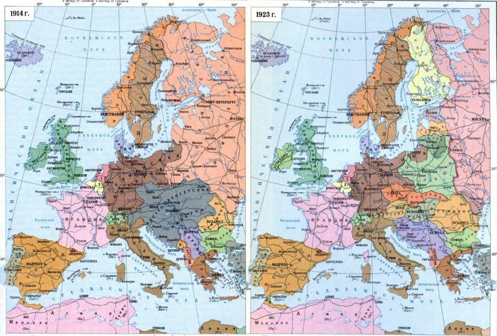 Границы стран до и после 1 Мировой Войны