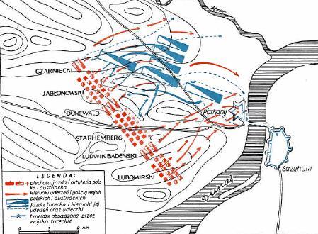 Карта битвы под Парканами 9 октября 1683 года