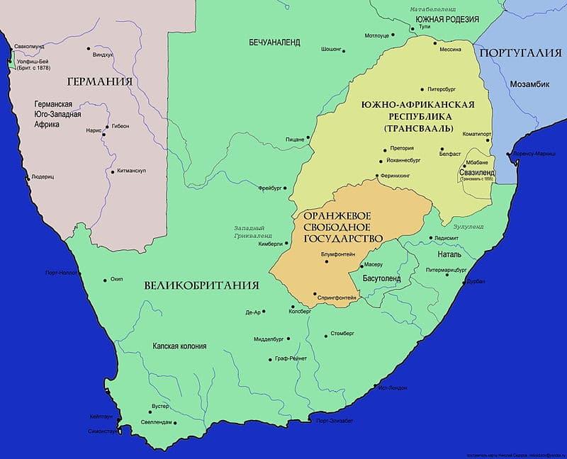 Карта Южной Африки (перед англо-бурской войной)