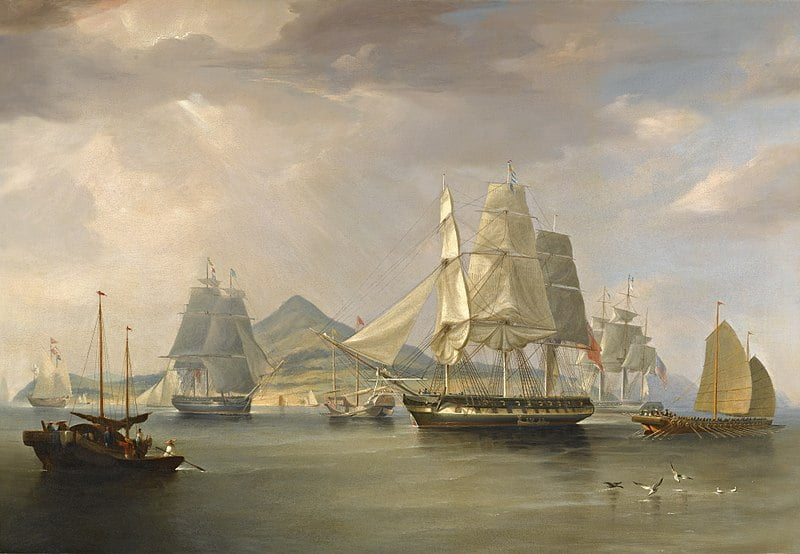 Корабли с опиумом у острова Линдин. 1824 год. С картины У.Хаггинса