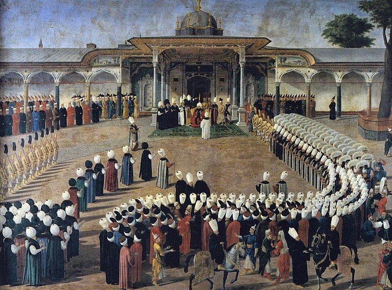 Селим III принимает сановников во дворе Дворца Топкапы.