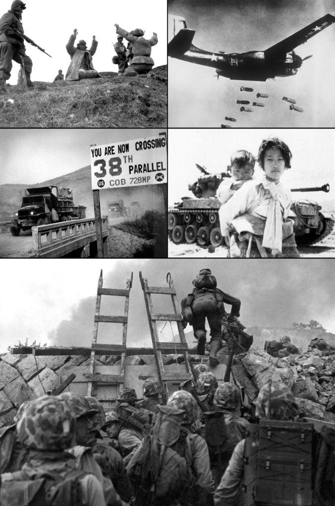 Корейская война. По часовой стрелке: Морская пехота США берёт в плен китайских солдат; B-26 сбрасывает бомбы на цель; Южнокорейские беженцы; Высадка сил США в Инчхоне; Силы ООН пересекают 38-ю параллель, отступая из Пхеньяна
