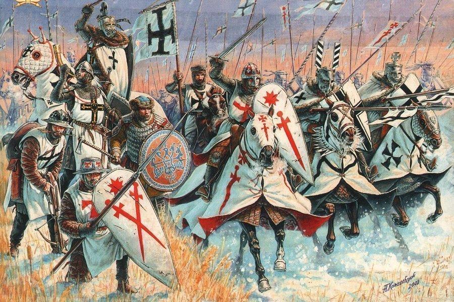 Орден меченосцев с Тевтонским орденом идут в бой