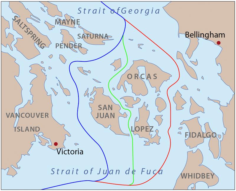 Синяя линия — граница, предложенная США Красная линия — граница, предложенная Великобританией Зелёная линия — компромиссное предложение