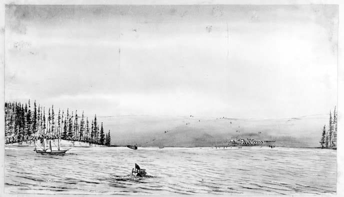 Рисунок акварелью, выполненный гардемарином королевского флота, стоявшим на палубе HMS Satellite. На берегу залива виден укрепленный лагерь Пикетта.