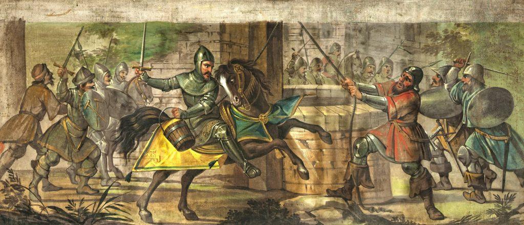 Отреставрированная картина Луиджи Манзини по сюжету комической поэмы «Похищенное ведро» Алессандро Тассони.