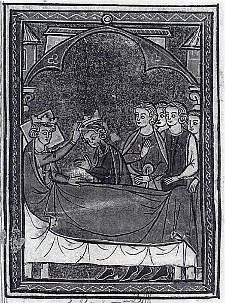Балдуин IV на смертном одре передаёт корону Балдуину V. Миниатюра средневековой рукописи.
