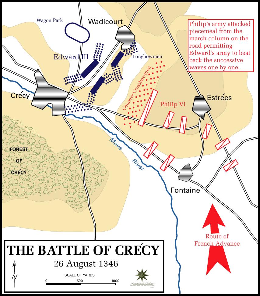 Схема битвы при Креси