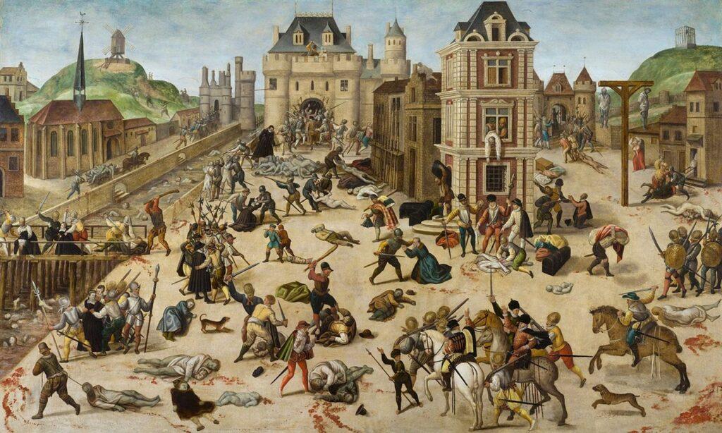 Массовое убийство гугенотов-протестантов в Париже, организованное французским королём Карлом IX и его матерью Екатериной Медичи (католиками) и начавшееся в воскресенье, в ночь на 24 августа (праздник св. Варфоломея) 1572 года, во время бракосочетания лидера протестантов Генриха Наваррского с Маргаритой Валуа. После Парижа волна убийств прокатилась по провинциям Франции.  С картины художника Франсуа Дюбуа (1529—1584). Кантональный музей изящных искусств, Лозанна (Швейцария)