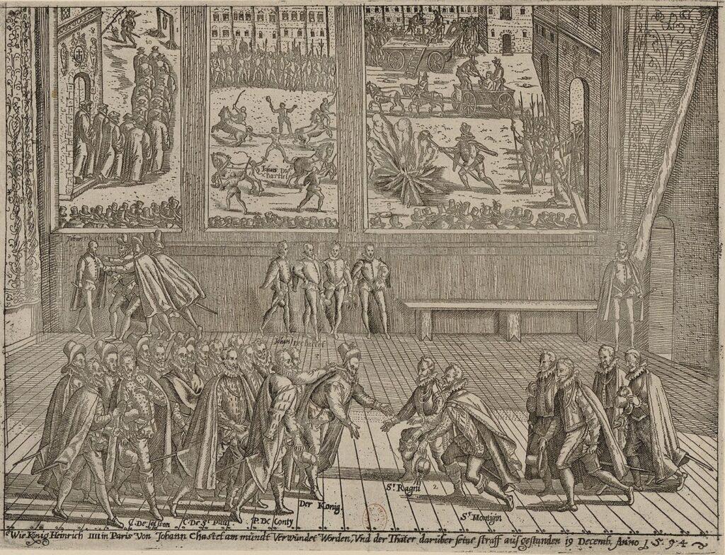 Покушение Шателя на Генриха IV (гравюра конца XVI века)