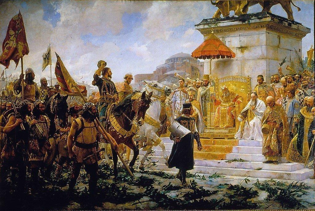 Вступление Рожера де Флора в Константинополь (1888). На переднем плане — альмогавары