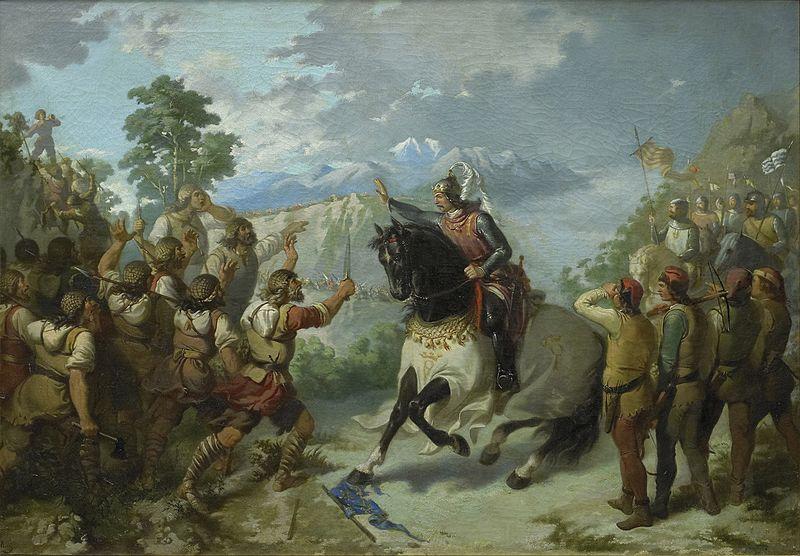 Б. Рибо-и-Терриз[ca]. Педро Великий в битве при перевале Паниссар (ок. 1866). Слева — альмогавары