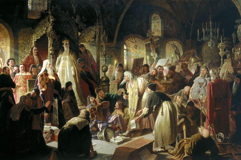 «прения о вере» 5 июля 1682 года в Грановитой палате в присутствии Патриарха Иоакима и царевны Софьи