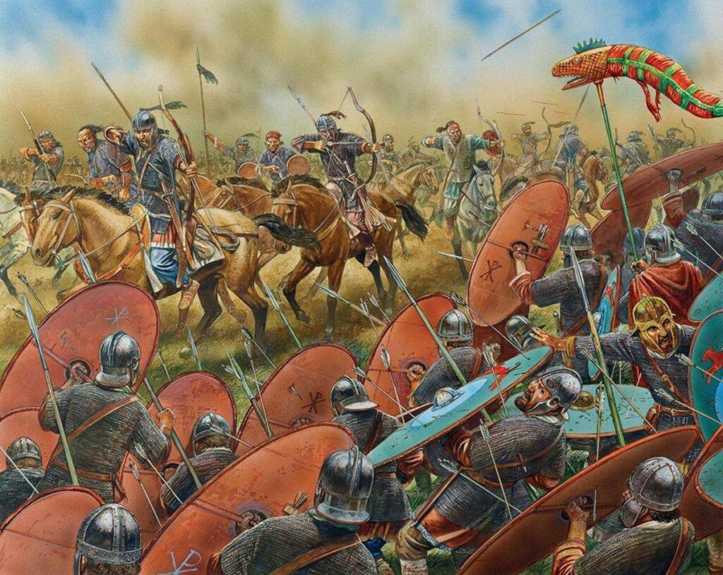 Вестготы отбивают атаку легкой кавалерии гуннов. Каталаунские поля, 451 год.
