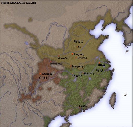 История Древнего Китая. Китайские царства Вэй (жёлтый цвет), У (зелёный) и Шу (красный) в 262 году.