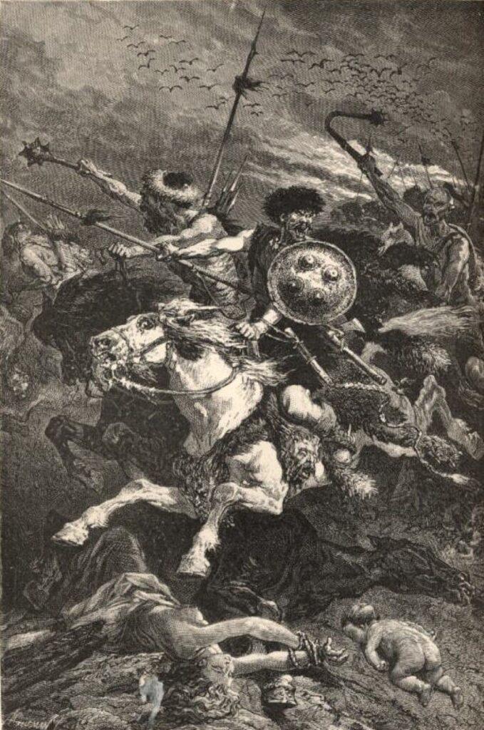 Гунны в битве на Каталаунских полях. Рисунок A. De Neuville к «Популярной истории Франции»