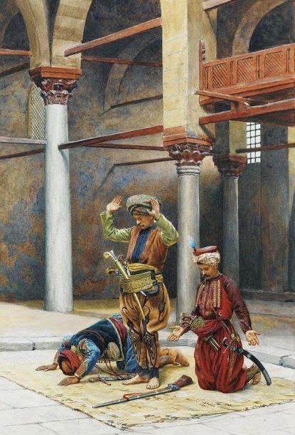 Мамлюкские воины совершают намаз в мечети, XVIII век. Художник Gustave Bourgain (French, 1855 - 1921).