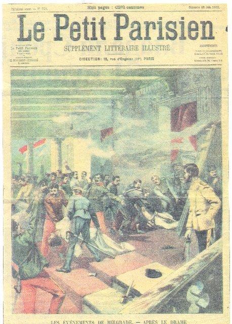 Иллюстрация с эпизодом Майского свержения, опубликованная в 1903 году во французской газете Le Petit Parisien
