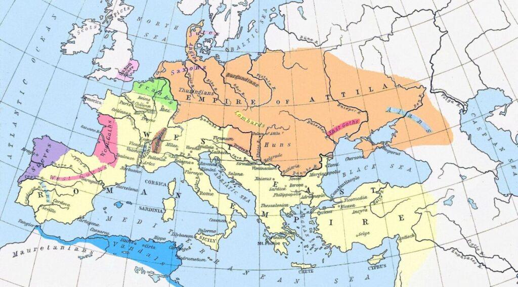 Карта Европы в середине V века н. э.