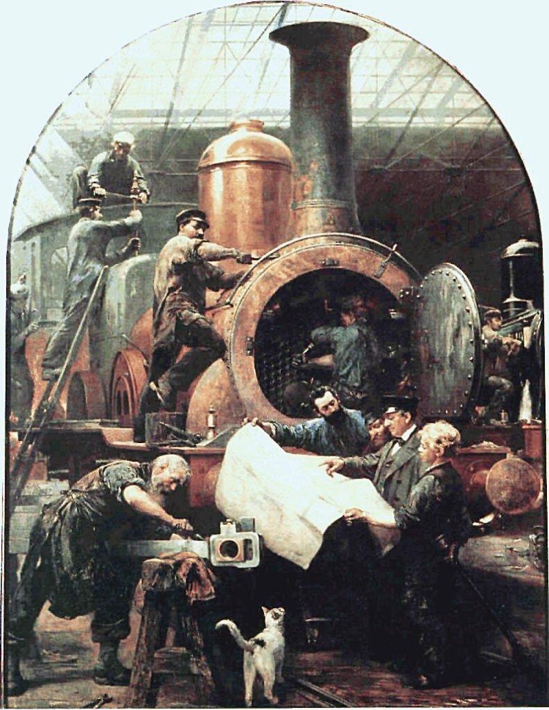 Строительство локомотива, картина Пауля Фридриха Маерхайма (нем.) (1842—1915).