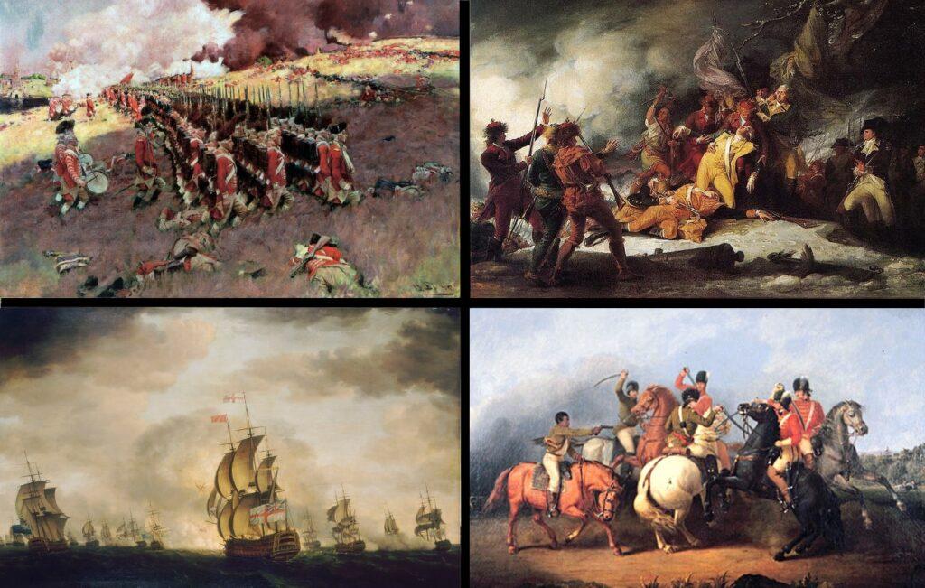 По часовой стрелке, с левого верхнего угла: битва при Банкер-Хилле, смерть Монтгомери при Квебеке, битва при Коупенсе, битва при лунном свете