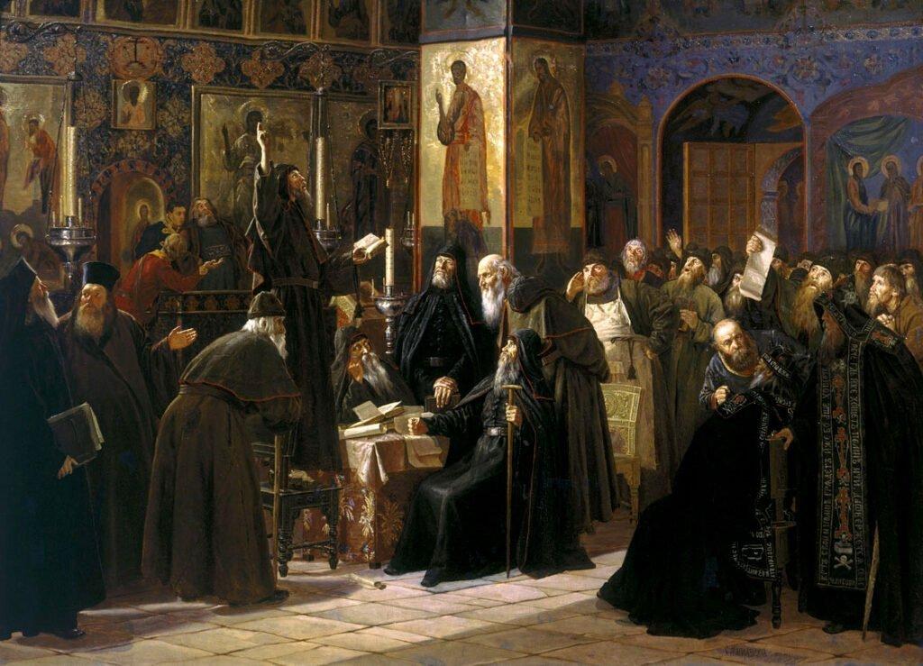 Чёрный собор. Восстание соловецкого монастыря против новопечатных книг в 1666 году (С. Милорадович, 1885 год)