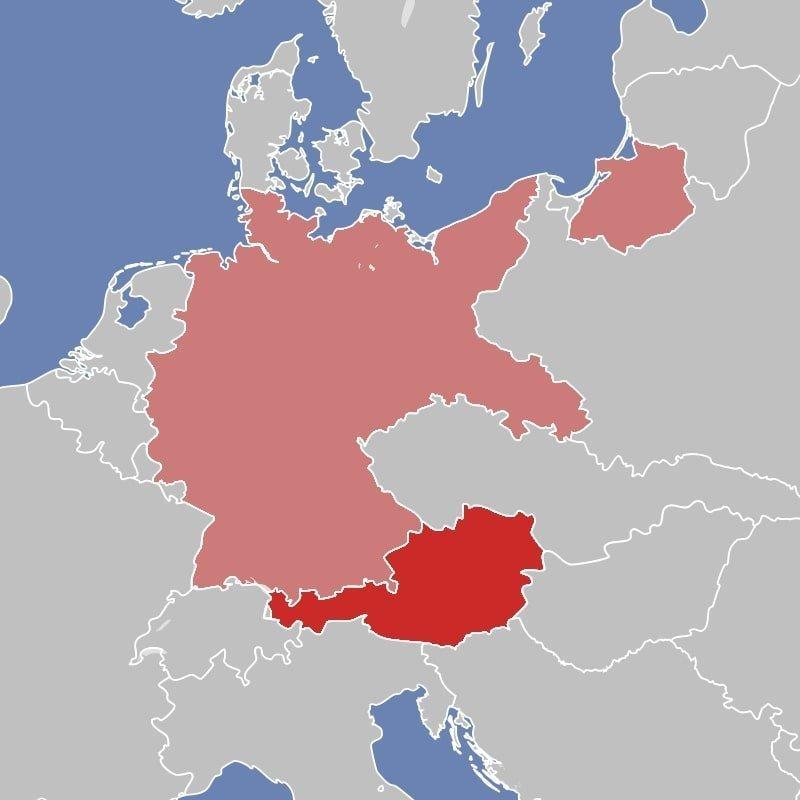 Территория Австрии и Германский рейх (12 марта 1938 г.).
