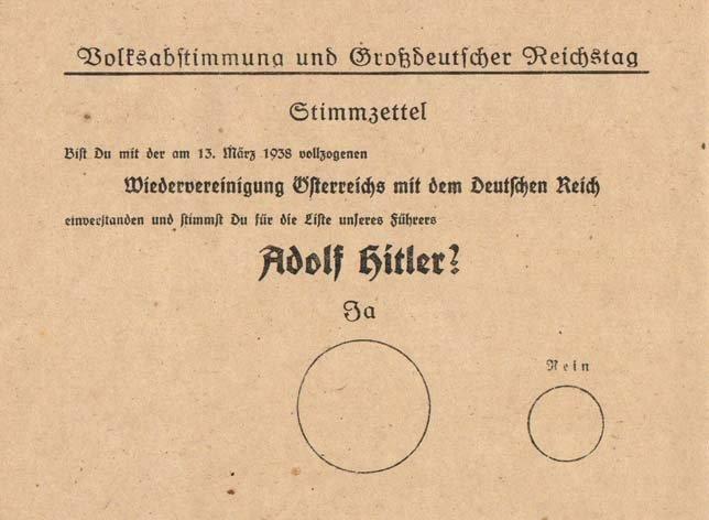 Бланк плебисцита 10 апреля 1938 года: «Согласен ли ты с произошедшим 13 марта 1938 года воссоединением Австрии с Германией и голосуешь ли за список нашего фюрера Адольфа Гитлера?», над большим кругом надпись «Да», над маленьким — «Нет»