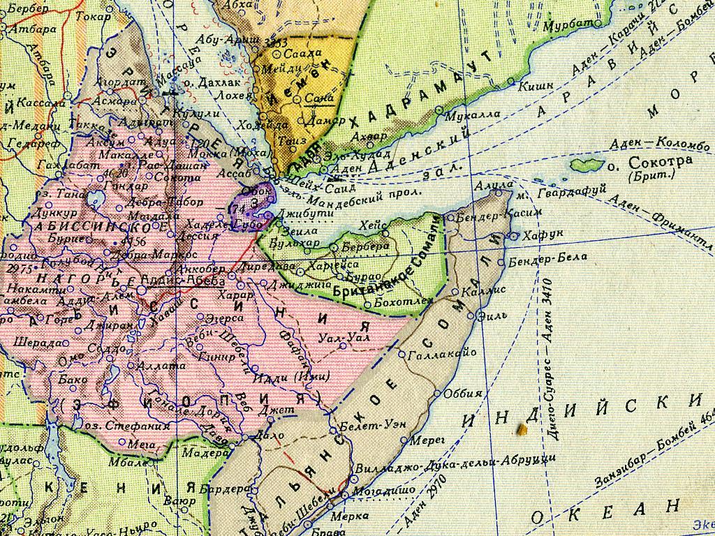 Карта Эфиопской империи начала 1930-х годов