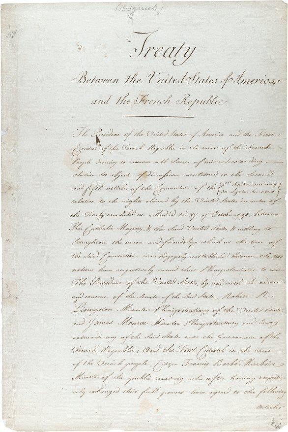 Оригинал договора о покупке Луизианы