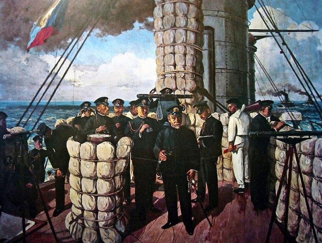 Хэйхатиро Того на мостике флагманского броненосца «Микаса»
