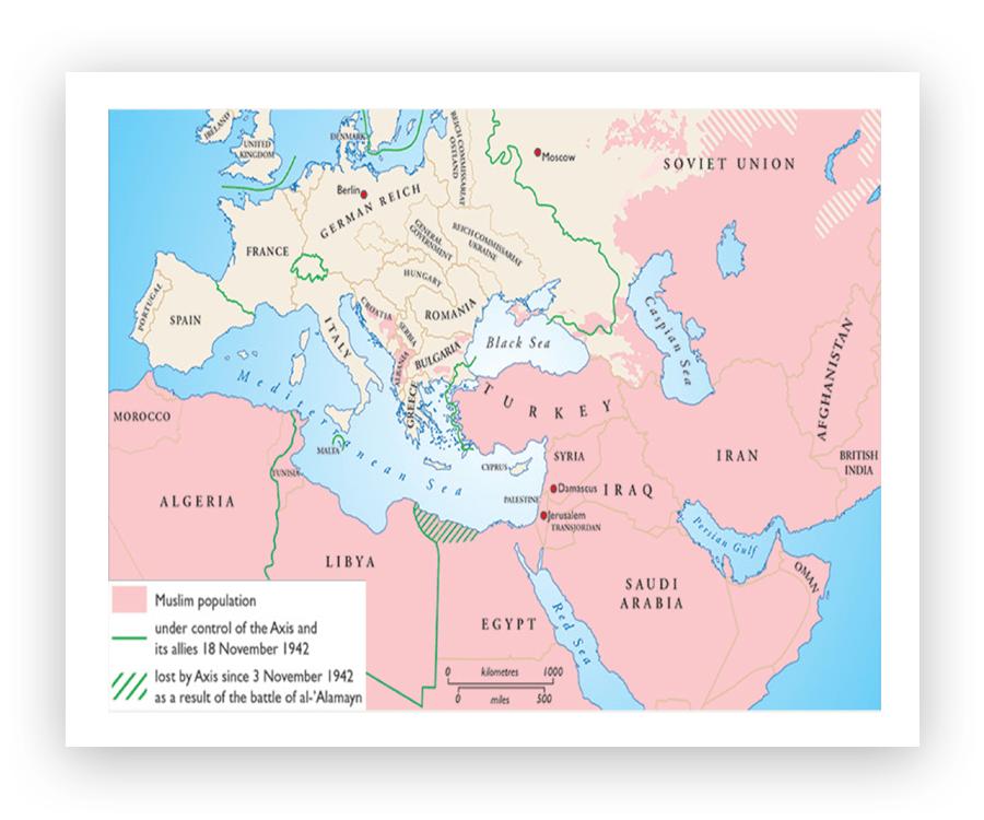Розовым цветом указаны страны/регионы со значительным мусульманским населением. Зелёная линия обозначает границы завоеваний Третьего рейха по состоянию на 18 ноября 1942-го