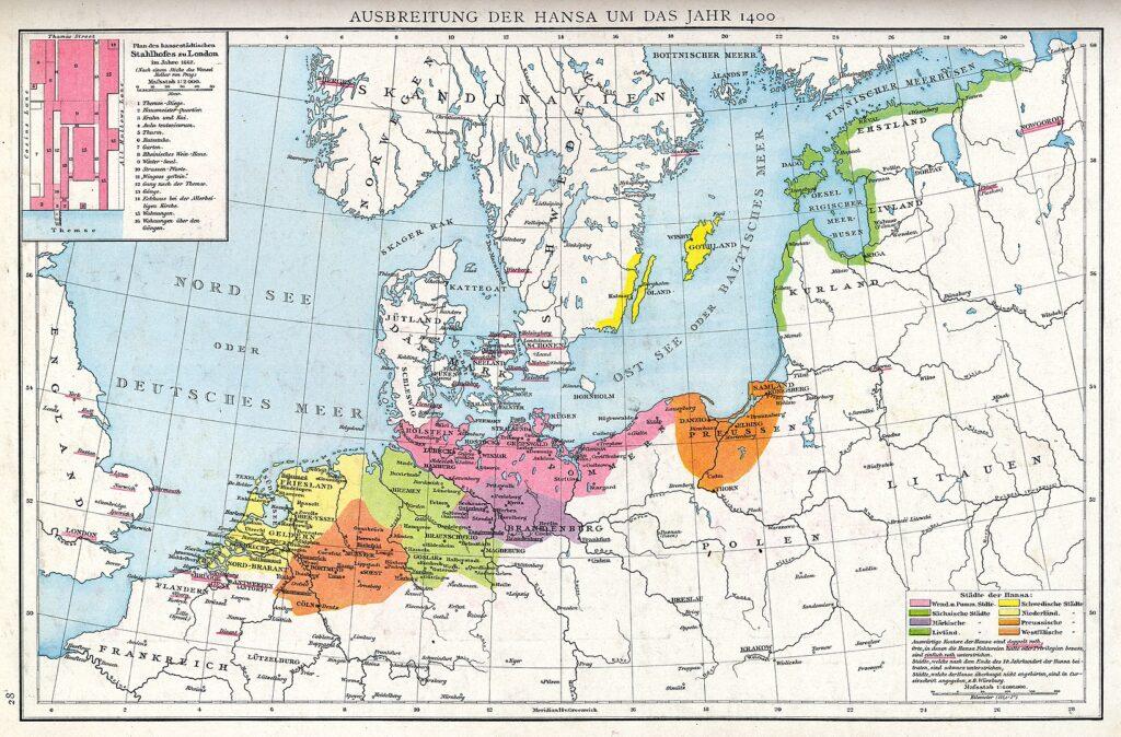Города-участники Ганзейского союза в 1400 году