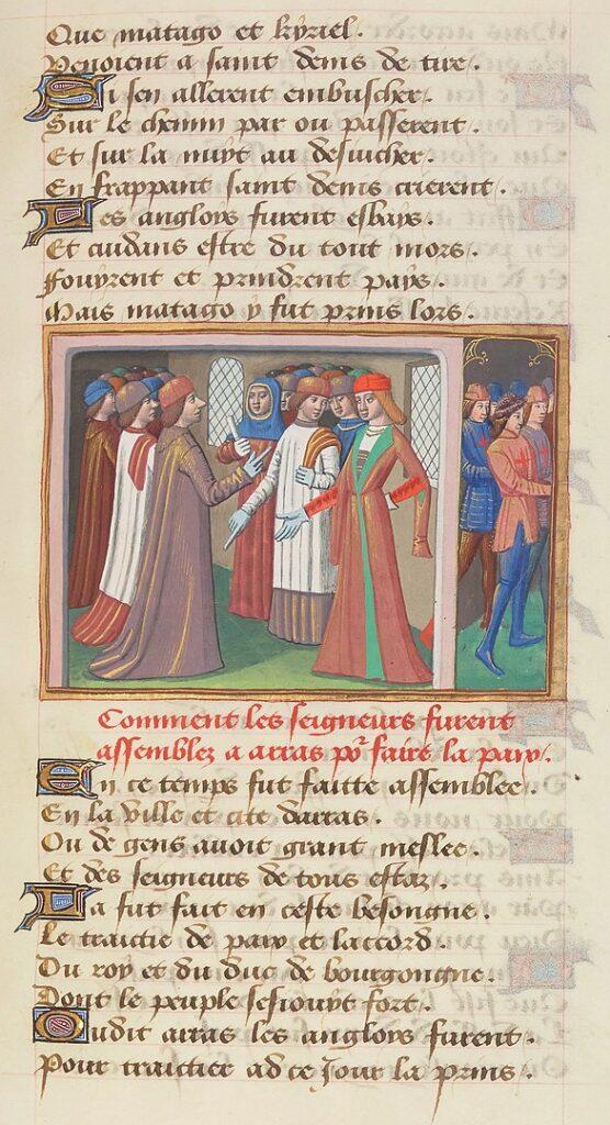 Иллюстрация XV века из Vigiles de Charles VII с изображением заключения Аррасского договора