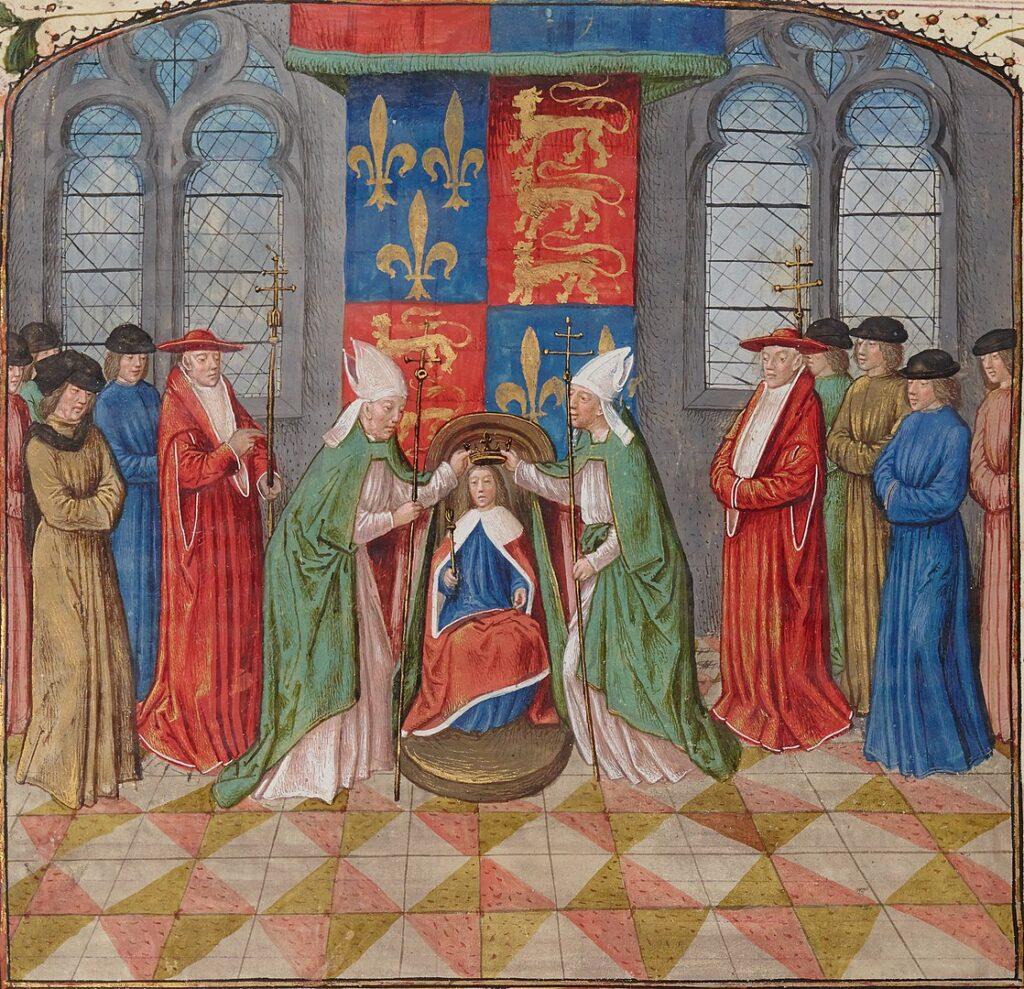 Венчание Генриха VI французской короной (1422). Миниатюра из «Староанглийских хроник» Жана де Ваврена.