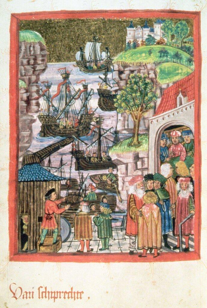 Гавань. Миниатюра шмуцтитула Гамбургского права 1475 года. Подпись на ниж.сред.нем. яз. Van schiprechte («Законы судоходства»).
