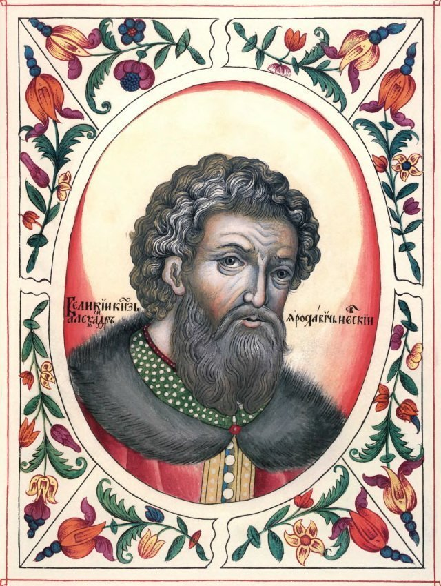 Александр Невский. Миниатюра из «Царского титулярника», 1672