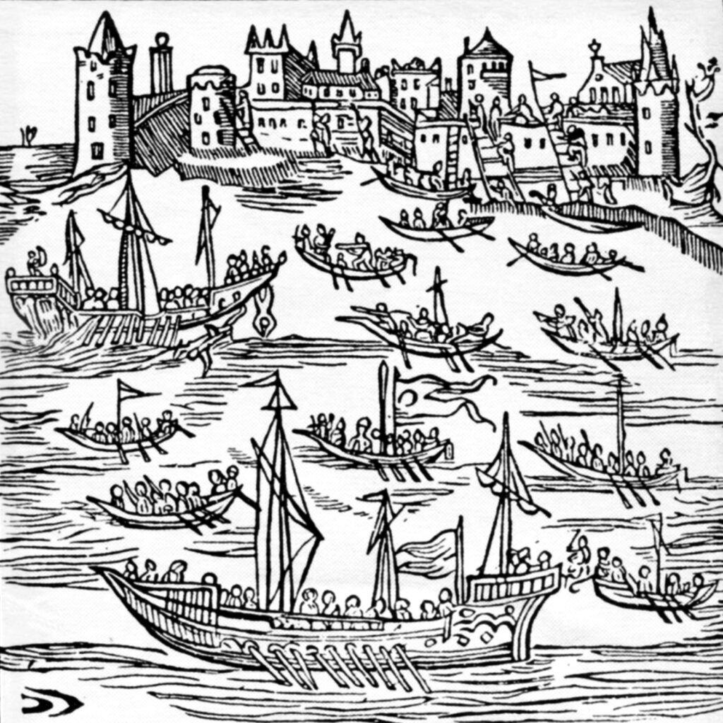 Запорожцы на «чайках» под командованием гетмана П. Сагайдачного уничтожают турецкий флот и захватывают Кафу в 1616 году.