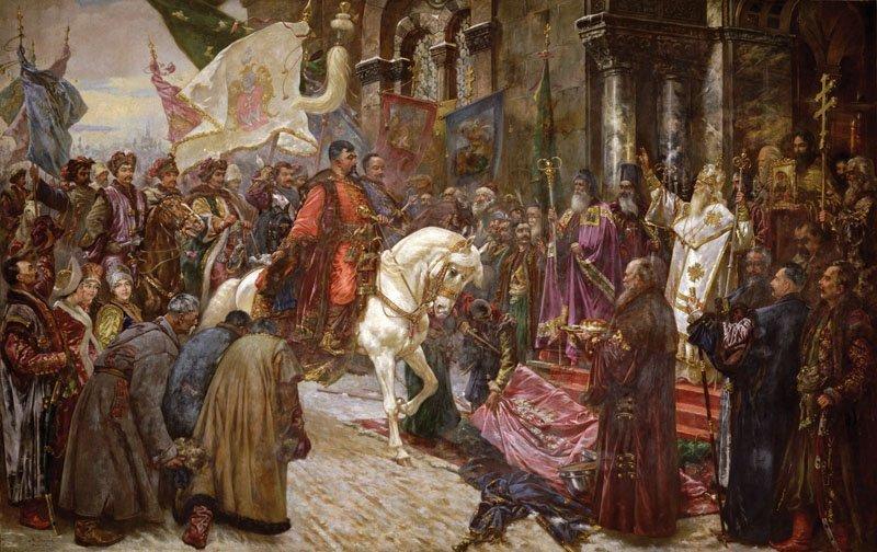 Въезд Богдана Хмельницкого в Киев. Картина Николая Ивасюка, конец XIX века