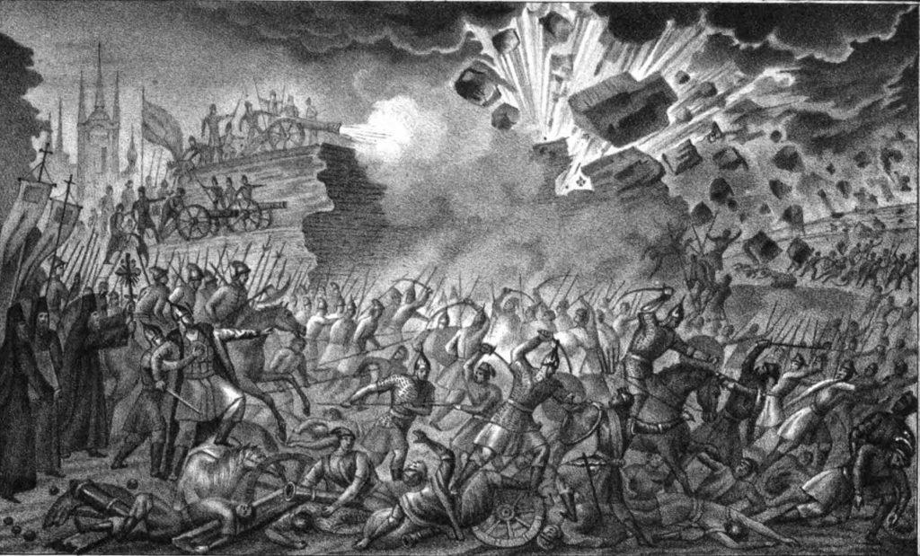 Ливанская война. Осада Пскова войсками Стефана Батория. Контратака псковского гарнизона.
