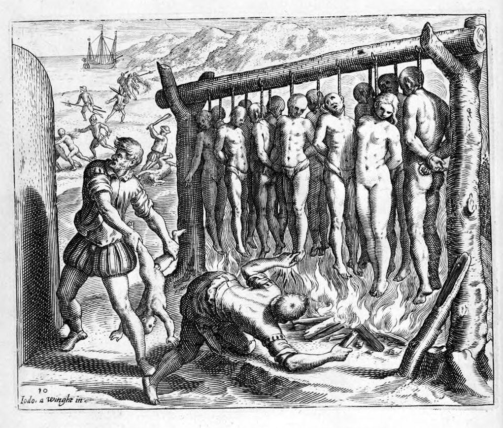 Сражение конкистадоров с инками. Гравюра XVII в.