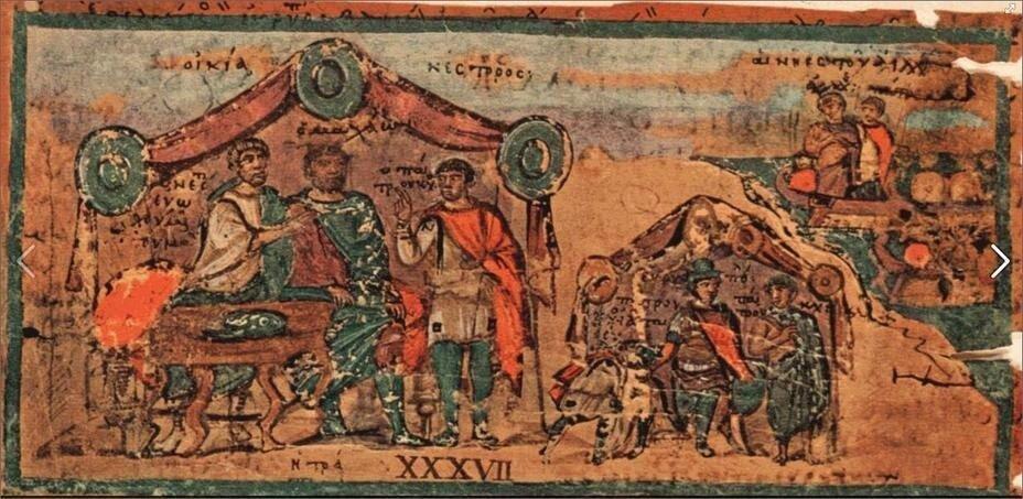 Доклад разведчика в шатре военачальника. Миниатюра из Кодекса Вергилия, V в. н.э.