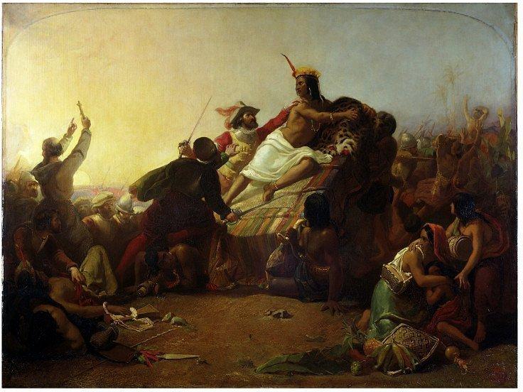 Джон Эверетт Милле. «Писарро берёт в плен Инку Атауальпу». 1845 г.