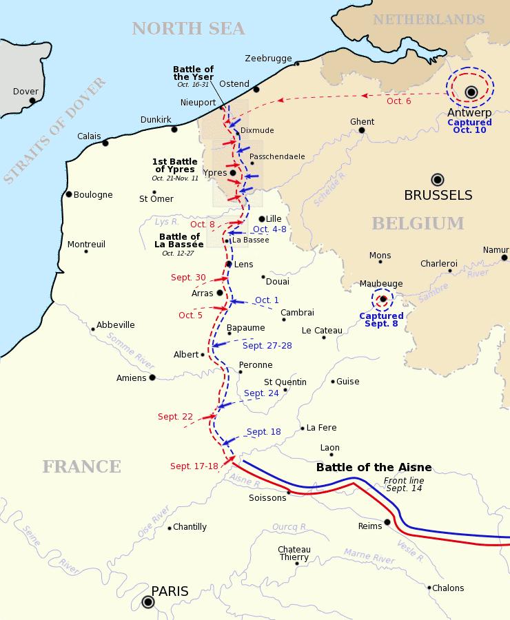 Бег к морю, силы Антанты показаны красным, силы немцев - синим