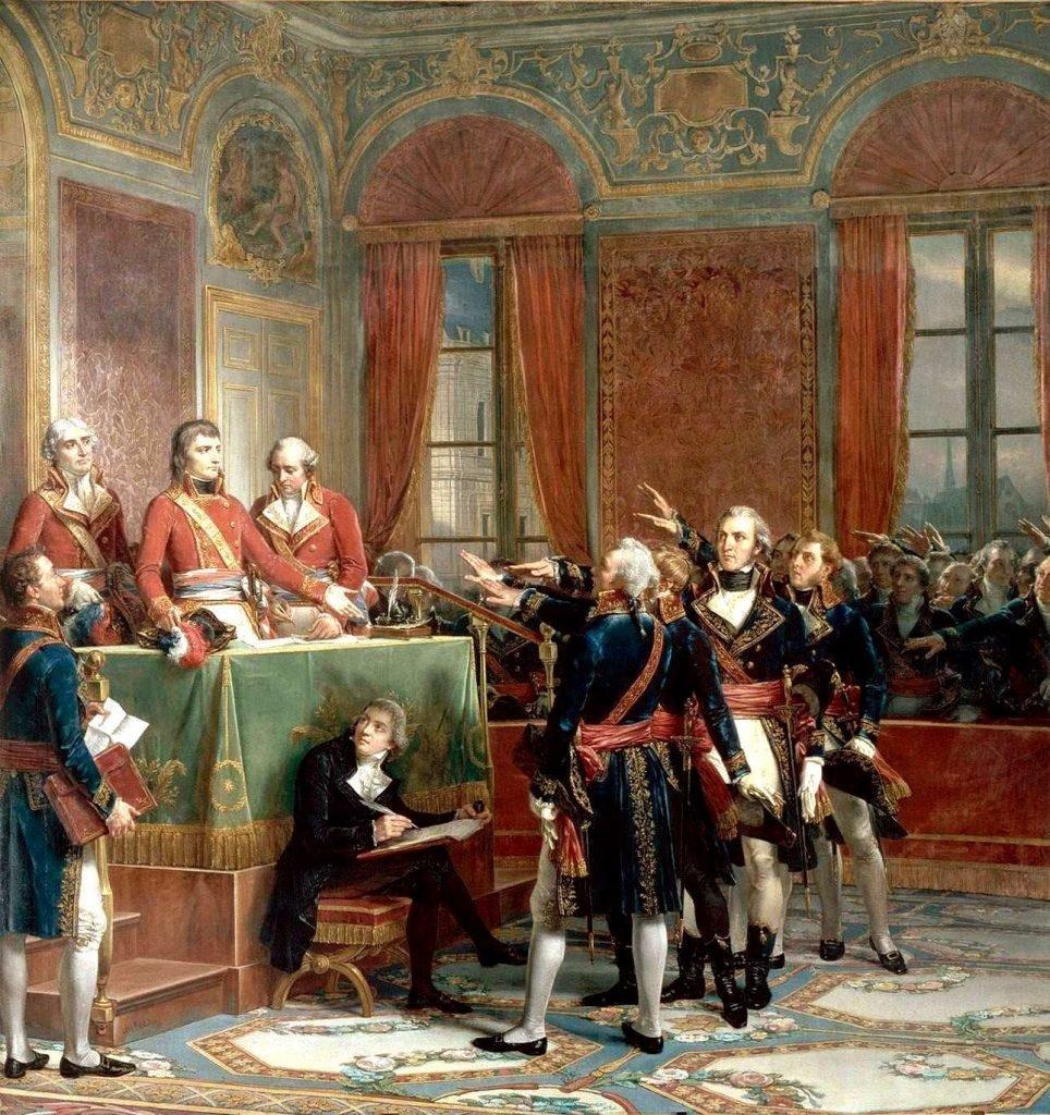 Открытие Государственного совета 25 декабря 1799 года. Три консула (Бонапарт, Камбасерес, Лебрен) принимают присягу членов совета.