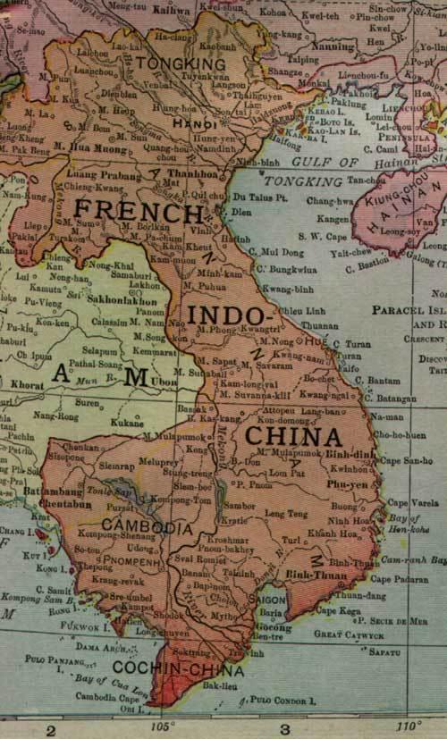 Карта Французского Индокитая